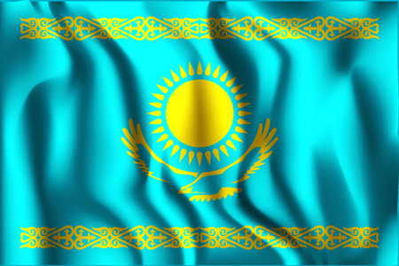 residential district: Kazakhstan Variant Flag. Rectangular Shape Icon with Wavy Effect