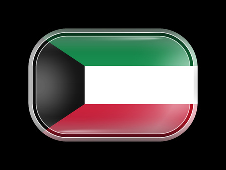 residential district: Flag of Kuwait. Rectangular Shape with Rounded Corners. This Flag is One of a Series of Glass Buttons