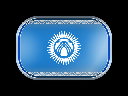 variant: Kyrgyzstan Possible Variant Flag. Rectangular Shape with Rounded Corners. This Flag is One of a Series of Glass Buttons