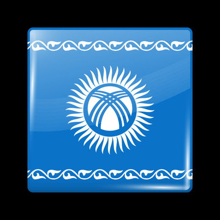 kyrgyz republic: Kyrgyzstan Possible Variant Flag. Glassy Icon Square Shape. This is File from the Collection Flags of Asia Illustration