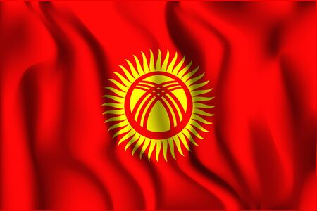 variant: Kyrgyzstan Variant Flag. Rectangular Shape Icon with Wavy Effect