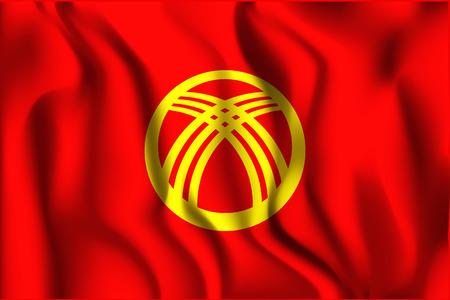 residential district: Kyrgyzstan Variant Flag. Rectangular Shape Icon with Wavy Effect