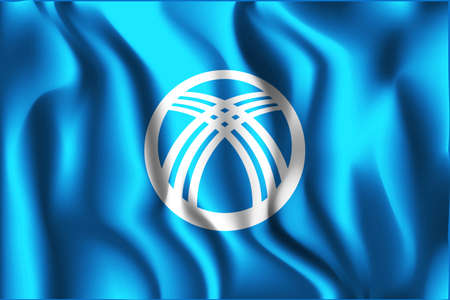 variant: Kyrgyzstan Possible Variant Flag. Rectangular Shape Icon with Wavy Effect