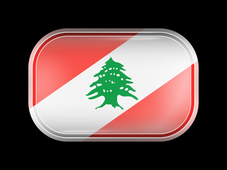 matted: Flag of Lebanon. Rectangular Shape with Rounded Corners. This Flag is One of a Series of Glass Buttons Illustration