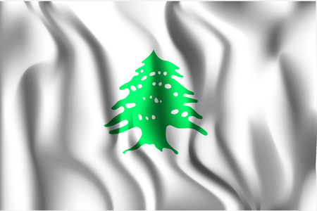 residential district: Flag of Lebanon. Rectangular Shape Icon with Wavy Effect
