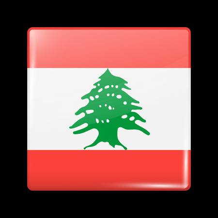 residential district: Flag of Lebanon. Glassy Icon Square Shape. This is File from the Collection Flags of Asia