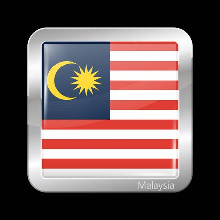 variant: Flag of Malaysia. Metallic Icon Square Shape. This is File from the Collection Flags of Asia