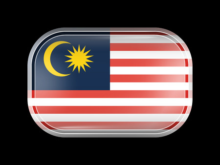 matted: Flag of Malaysia. Rectangular Shape with Rounded Corners. This Flag is One of a Series of Glass Buttons Illustration