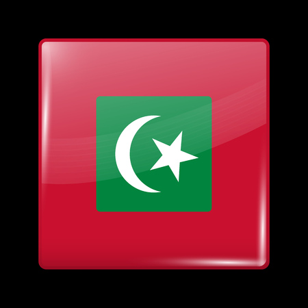 variant: Maldives Variant Flag. Glassy Icon Square Shape. This is File from the Collection Flags of Asia Illustration