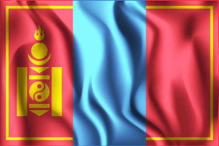 variant: Mongolia Variant Flag. Rectangular Shape Icon with Wavy Effect Illustration