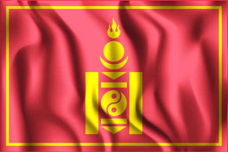 mongolian: Mongolian Soyombo. Rectangular Shape Icon with Wavy Effect Illustration