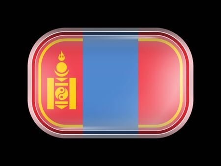 matted: Mongolia Variant Flag. Rectangular Shape with Rounded Corners. This Flag is One of a Series of Glass Buttons Illustration