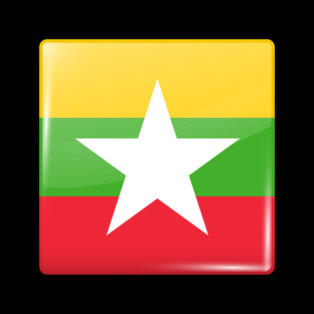 burmese: Flag of Myanmar. Glassy Icon Square Shape. This is File from the Collection Flags of Asia