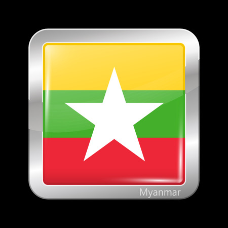burmese: Flag of Myanmar. Metallic Icon Square Shape. This is File from the Collection Flags of Asia
