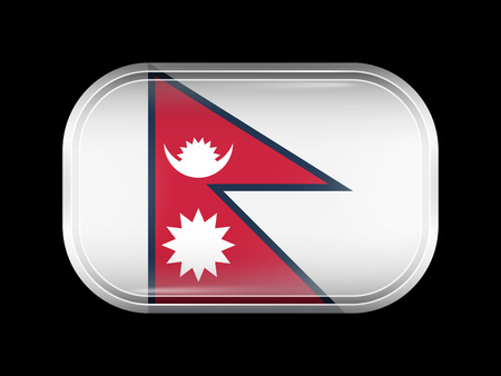 matted: Flag of Nepal. Rectangular Shape with Rounded Corners. This Flag is One of a Series of Glass Buttons