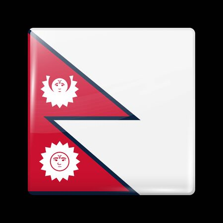 variant: Nepal Variant Flag. Glassy Icon Square Shape. This is File from the Collection Flags of Asia