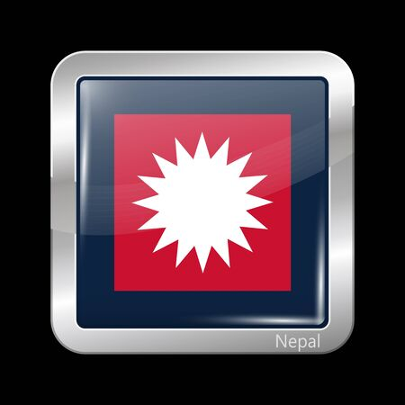 variant: Nepal Variant Flag. Metallic Icon Square Shape. This is File from the Collection Flags of Asia Illustration