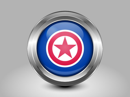 pyongyang: North Korea Variant Flag. Metal Round Icons. This is File from the Collection Asian Flags