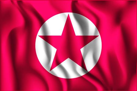 variant: North Korea Variant Flag. Rectangular Shape Icon with Wavy Effect