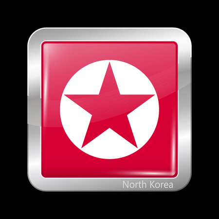 residential district: North Korea Variant Flag. Metallic Icon Square Shape. This is File from the Collection Flags of Asia