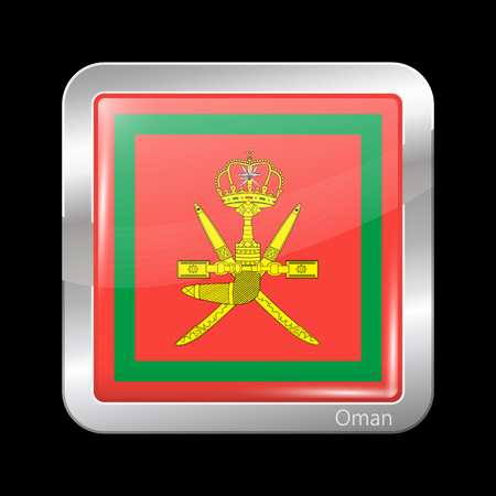 residential district: Flag of Oman. Metallic Icon Square Shape. This is File from the Collection Flags of Asia