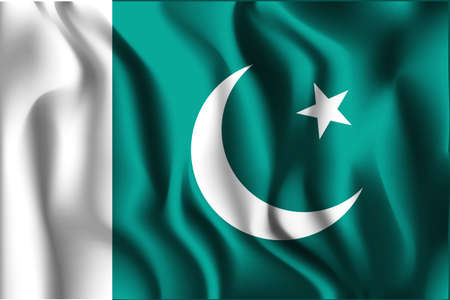islamabad: Flag of Pakistan. Rectangular Shape Icon with Wavy Effect Illustration