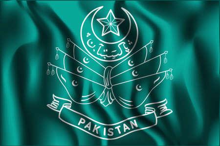 islamabad: Old Emblem of Pakistan. Rectangular Shape Icon with Wavy Effect