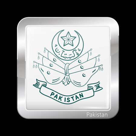 islamabad: Old Emblem of Pakistan. Metallic Icon Square Shape. This is File from the Collection Flags of Asia
