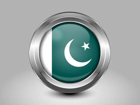 islamabad: Flag of Pakistan. Metal Round Icons. This is File from the Collection Asian Flags