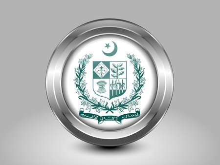 shiny buttons: Emblem of Pakistan. Metal Round Icons. This is File from the Collection Asian Flags