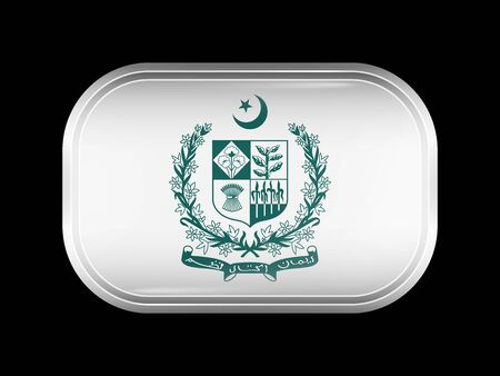 matted: Emblem of Pakistan. Rectangular Shape with Rounded Corners. This Flag is One of a Series of Glass Buttons Illustration