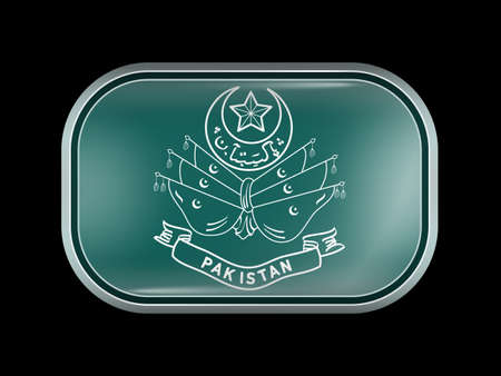 islamabad: Old Emblem of Pakistan. Rectangular Shape with Rounded Corners. This Flag is One of a Series of Glass Buttons
