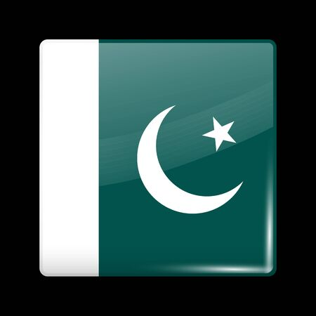 residential district: Flag of Pakistan. Glassy Icon Square Shape. This is File from the Collection Flags of Asia Illustration