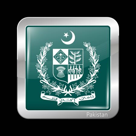 islamabad: Emblem of Pakistan. Metallic Icon Square Shape. This is File from the Collection Flags of Asia Illustration