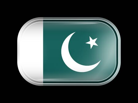 islamabad: Flag of Pakistan. Rectangular Shape with Rounded Corners. This Flag is One of a Series of Glass Buttons Illustration