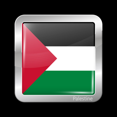 palestine: Flag of Palestine. Metallic Icon Square Shape. This is File from the Collection Flags of Asia