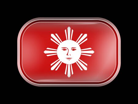 filipino: Philippines Variant Flag. Rectangular Shape with Rounded Corners. This Flag is One of a Series of Glass Buttons Illustration