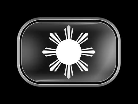 variant: Philippines Variant Flag. Rectangular Shape with Rounded Corners. This Flag is One of a Series of Glass Buttons Illustration
