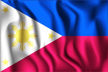 filipino: Flag of Philippines. Rectangular Shape Icon with Wavy Effect Illustration