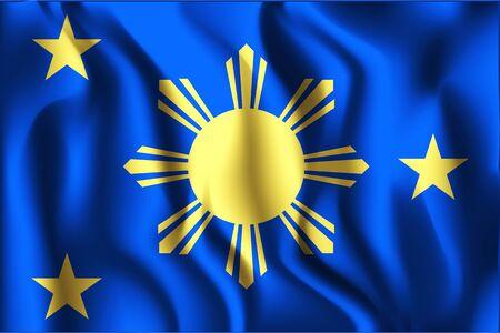 filipino: Philippines Variant Flag. Rectangular Shape Icon with Wavy Effect