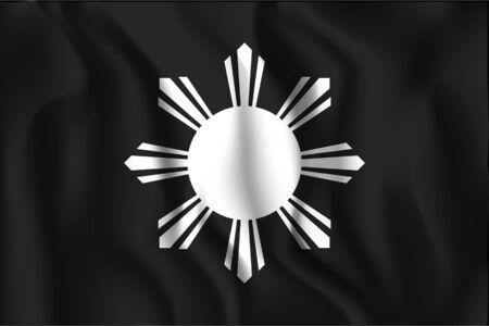 variant: Philippines Variant Flag. Rectangular Shape Icon with Wavy Effect