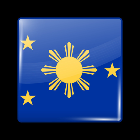filipino: Philippines Variant Flag. Glassy Icon Square Shape. This is File from the Collection Flags of Asia