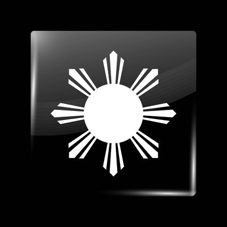 residential district: Philippines Variant Flag. Glassy Icon Square Shape. This is File from the Collection Flags of Asia