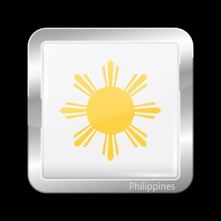 metallic  sun: Philippines Variant Flag. Metallic Icon Square Shape. This is File from the Collection Flags of Asia
