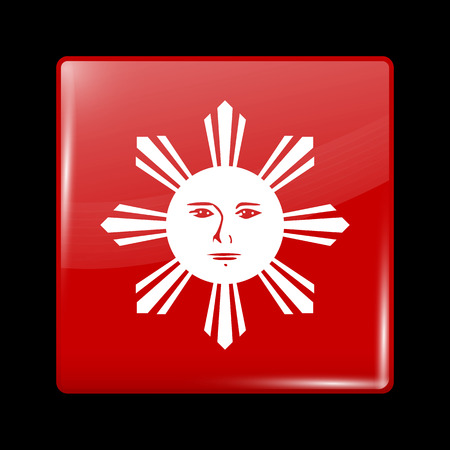 variant: Philippines Variant Flag. Glassy Icon Square Shape. This is File from the Collection Flags of Asia