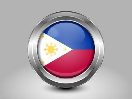 flag icon: Flag of Philippines. Metal Round Icons. This is File from the Collection Asian Flags
