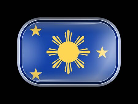 residential district: Philippines Variant Flag. Rectangular Shape with Rounded Corners. This Flag is One of a Series of Glass Buttons Illustration