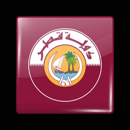 Qatar Coat of Arms. Glassy Icon Square Shape. This is File from the Collection Flags of Asia Illustration