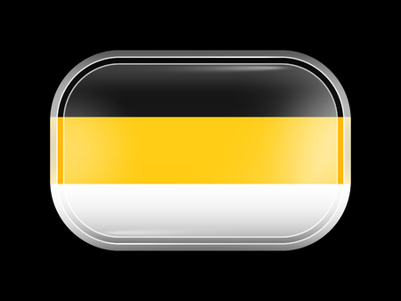 romanov: Russia Variant Flag. Rectangular Shape with Rounded Corners. This Flag is One of a Series of Glass Buttons Illustration