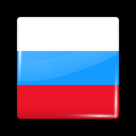variant: Russia Variant Flag. Glassy Icon Square Shape. This is File from the Collection Flags of Asia